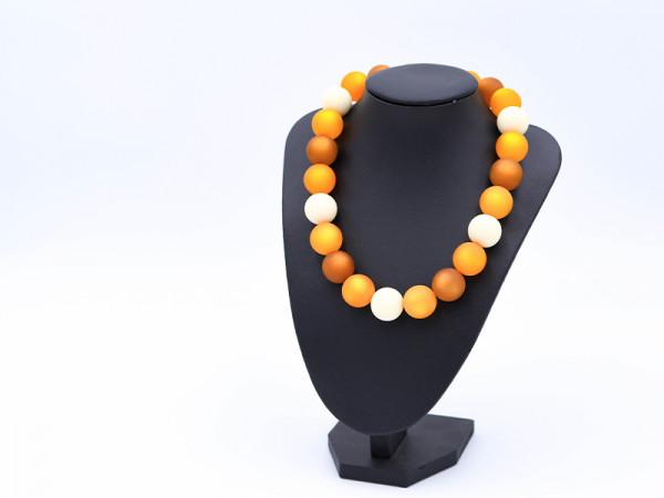 Halskette Polaris in orange/ hellbraun/ weiß