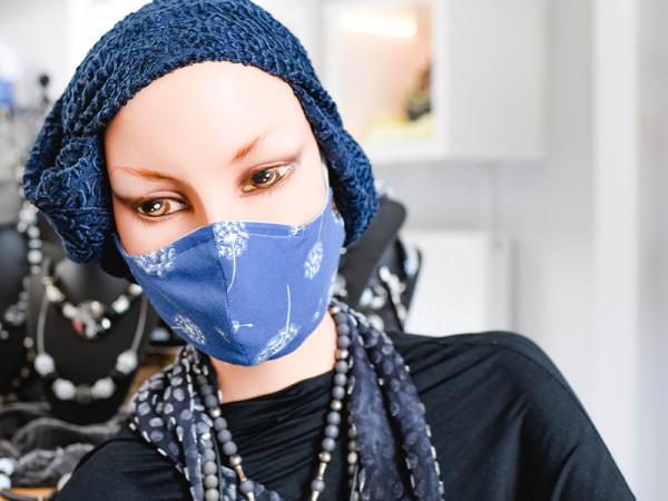 Mund- Nasenmasken blau mit Pusteblumen-Motiv