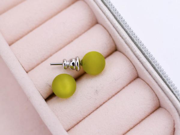 Ohrstecker Polarisperle oliv